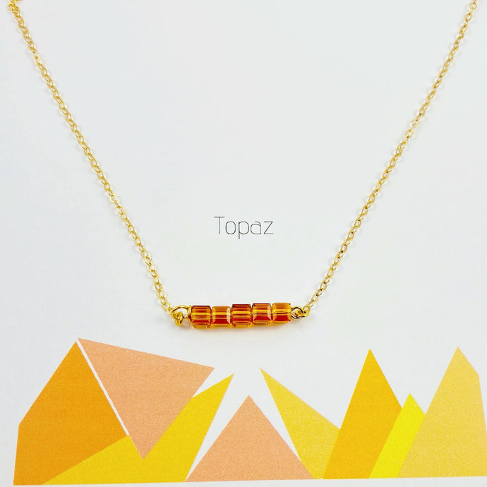 Topaz Cube Bar Necklace - AR TodayCharm Jewelry Company