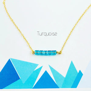 Turquoise Cube Bar Necklace - AR TodayCharm Jewelry Company