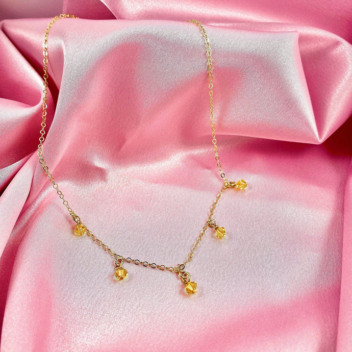 Yellow Citrine Cristal Choker Necklace - AR TodayCharm Jewelry Company