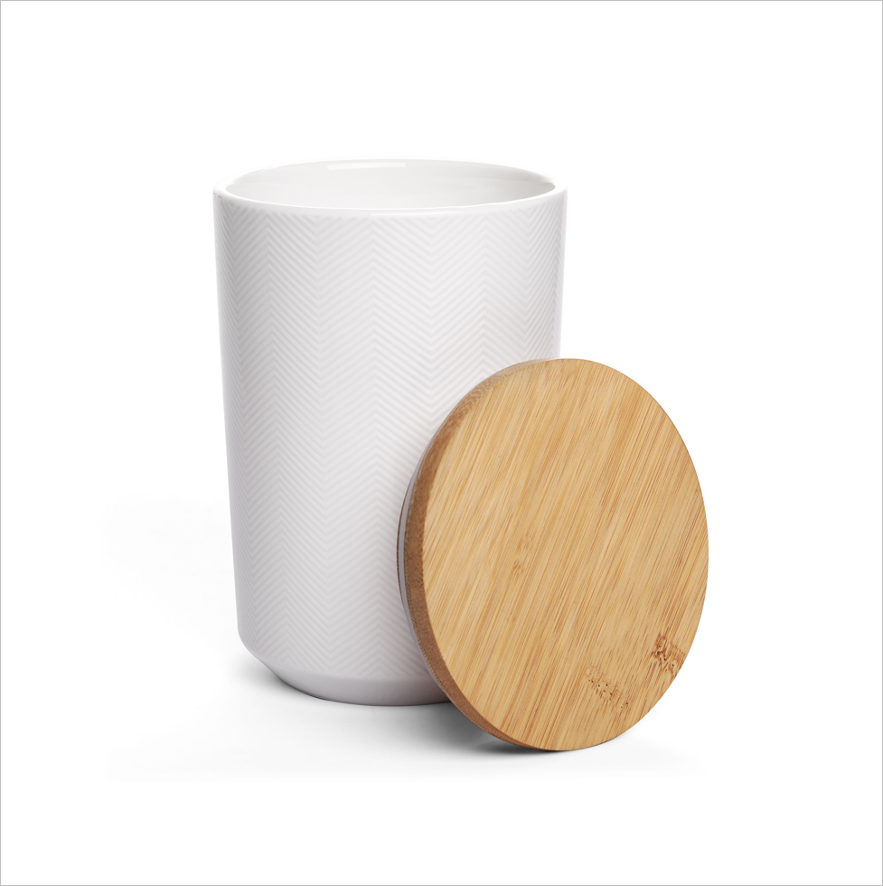 Textured Canister - Herringbone White