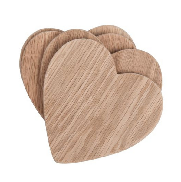 Heart Oak Coaster Set