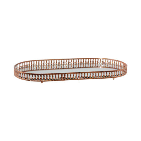 Copper Plated Oval Mirror Tray