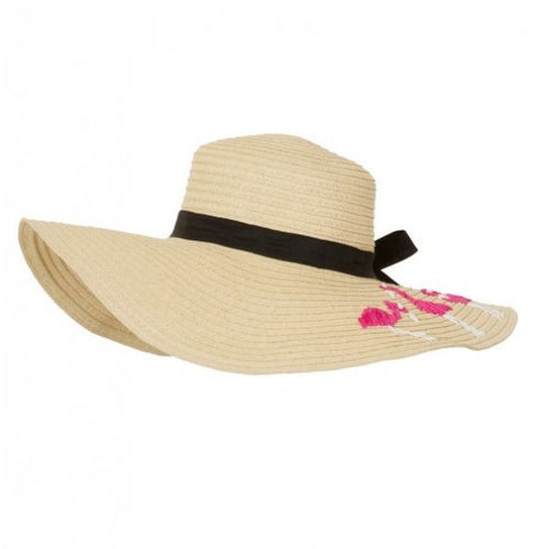 Pink and White Flamingo Brimmed Beach Hat