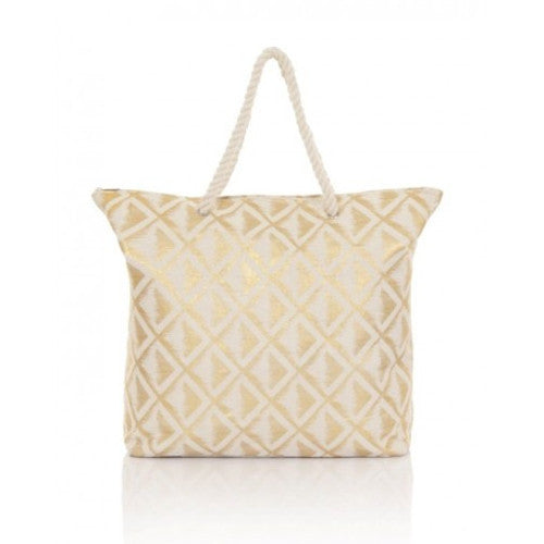 Metallic Diamond Printed Tote Beach Bag With Rope Handle
