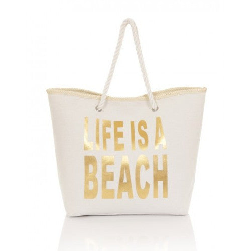 White and Gold Life Is A Beach Bag