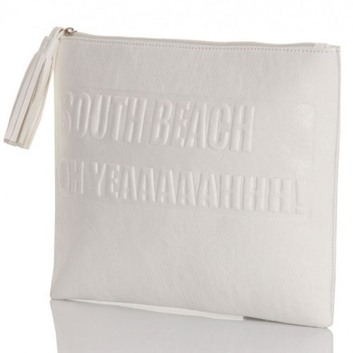 White South Beach Leather Look Clutch Bag