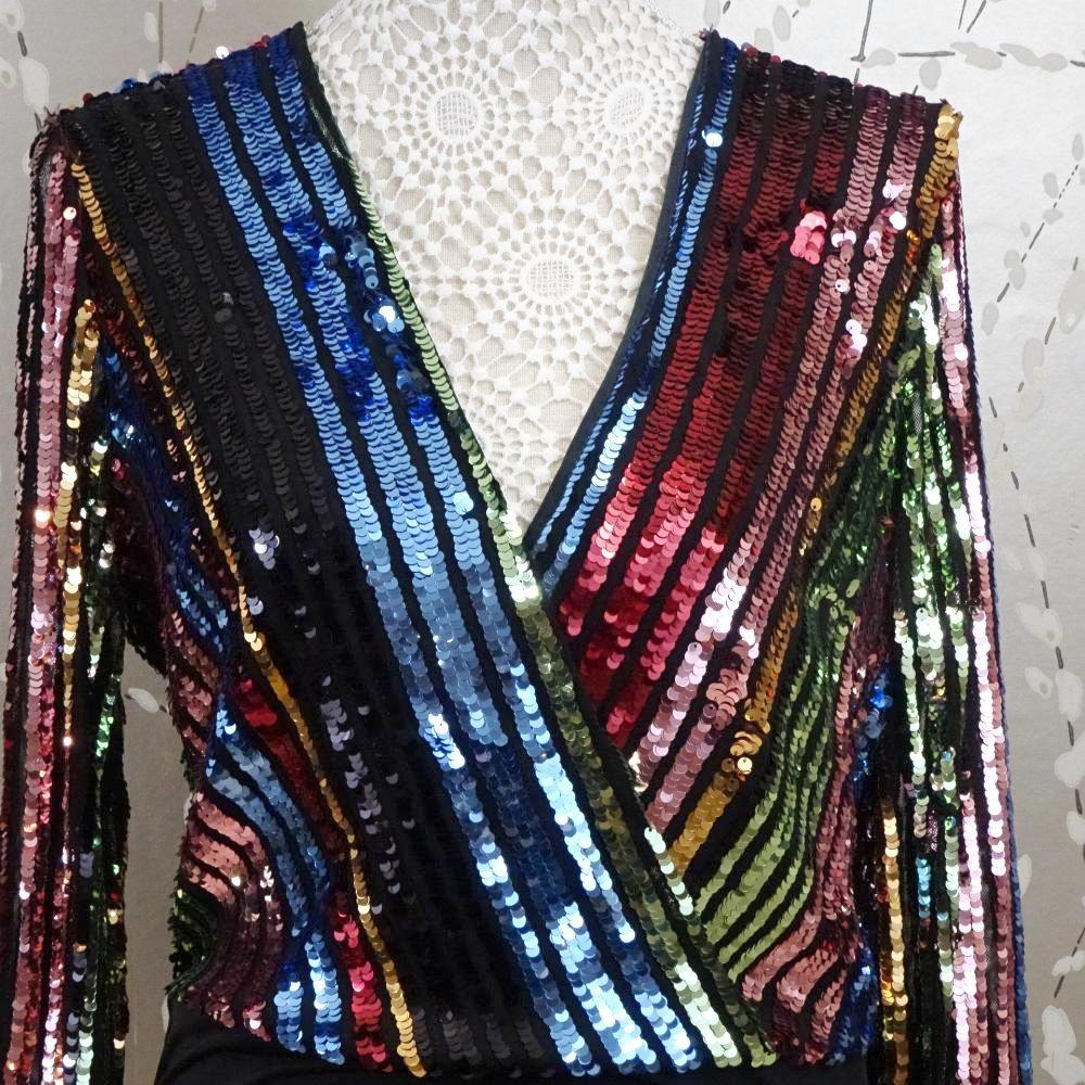 Sequinned Multi Coloured Long Sleeve Bodysuit