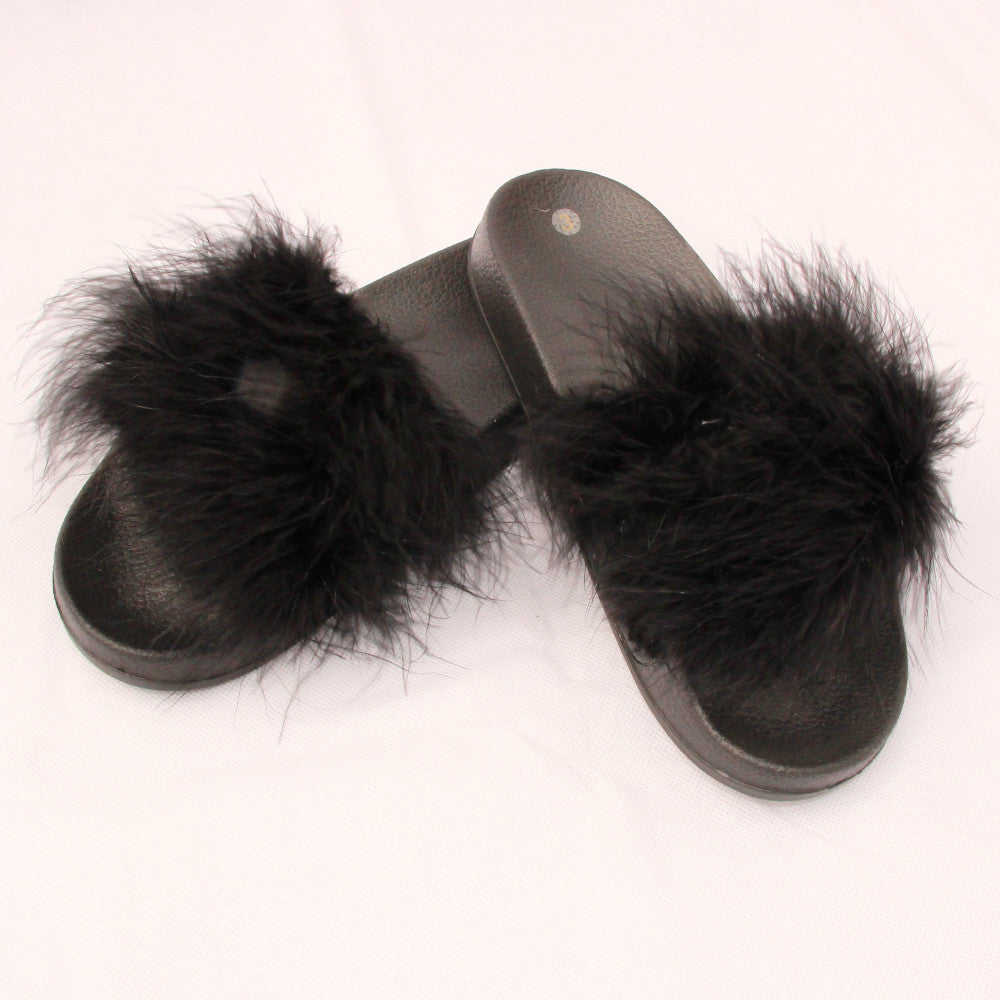 Black Real Feather Sliders