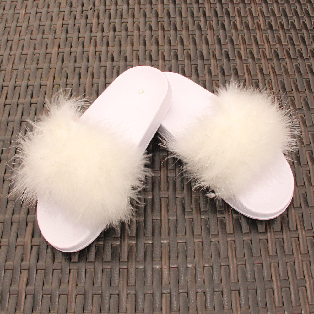 White Real Feather Sliders