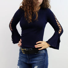 Navy Blue Flare Sleeve Sweater