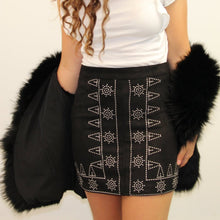 Black Patterned Embroidered Mini Skirt