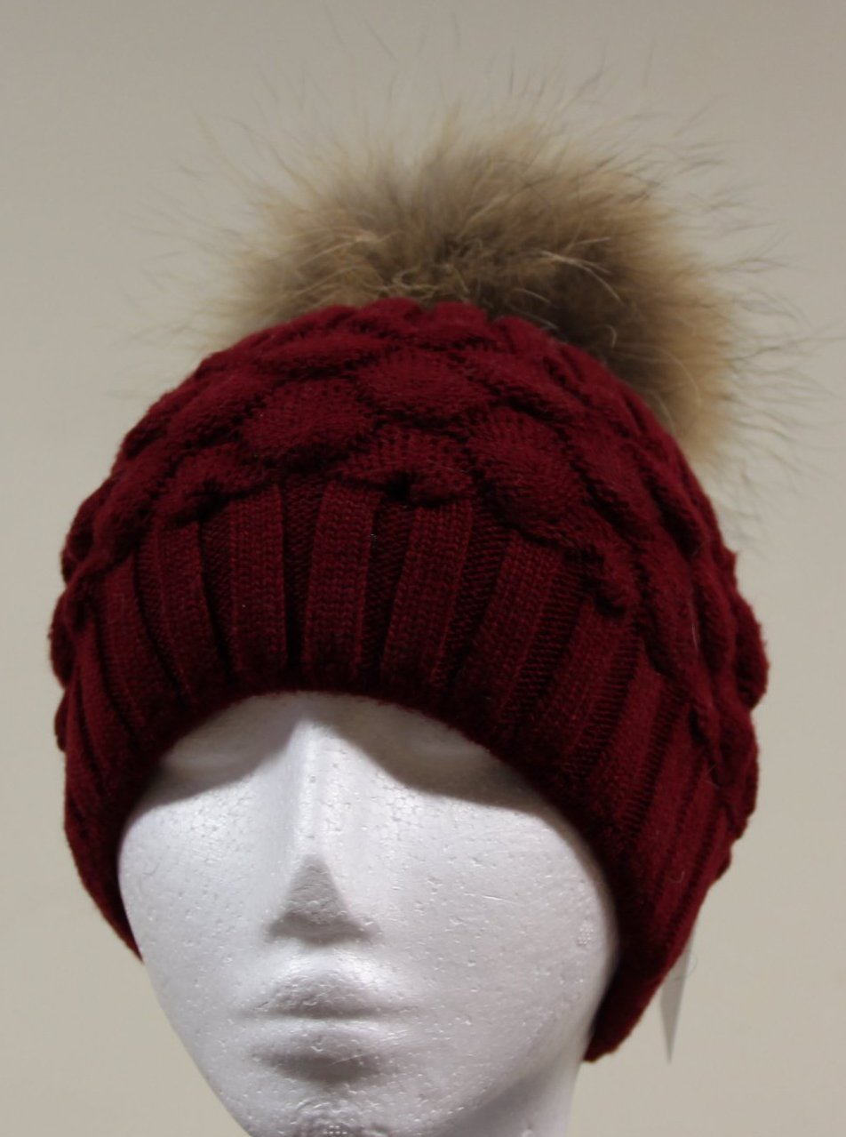 Wine Red Pom Pom Hat
