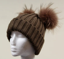 Brown Fur Double Pom Pom Hat