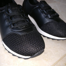 Black and White Mesh Lace Up Trainers
