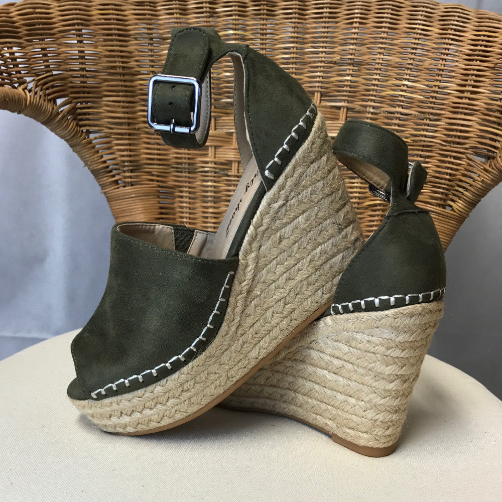 Faux Suede Wedges Khaki