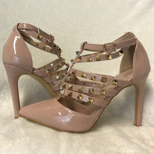 Studded Patent Nude High Heels