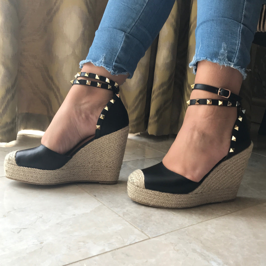 Black Studded Wedge Espadrilles – Two