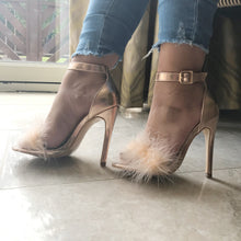 Rose Gold High Heel Feather Sandals