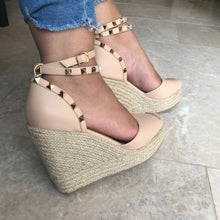 Nude Studded Wedge Espadrilles