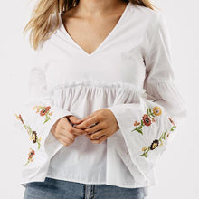 White Cotton Embroidered Bell Sleeve Top