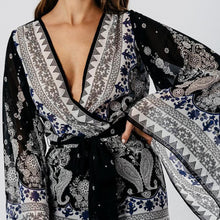 Black Paisley Print Flare Sleeve Belted Playsuit