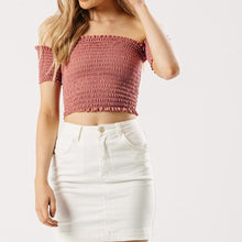 Rose Bardot Shirring Crop Top