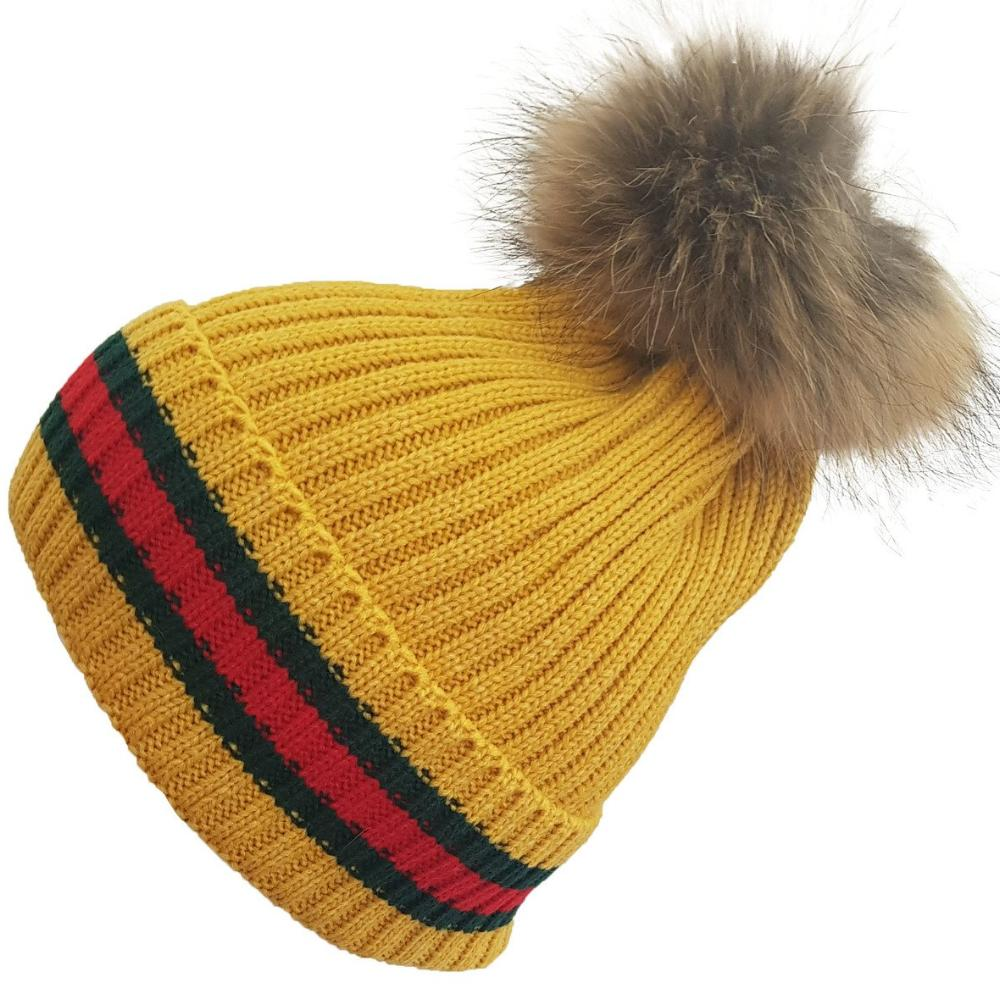 Mustard Knitted Striped Fur Pom Pom Hat