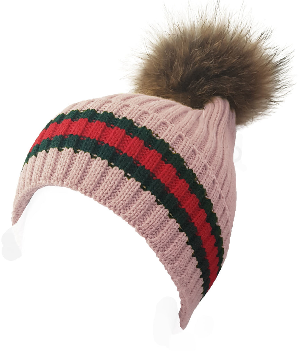 Pink Knitted Striped Fur Pom Pom Hat