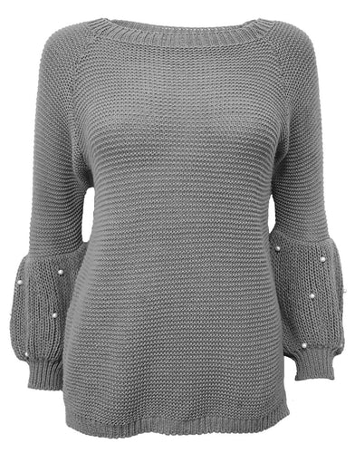 Puff Sleeve Grey Sweater With Pearl Details