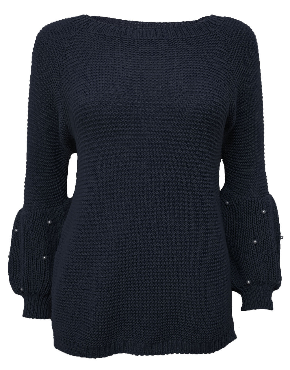 Puff Sleeve Navy Sweater With Pearl Details