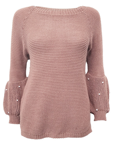 Puff Sleeve Pink Sweater With Pearl Details