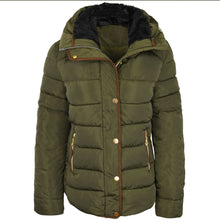 Quilted Puffer Faux Fur Collar Hooded Jacket