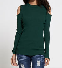 Cut Out Shoulder Ribbed Long Sleeve Top