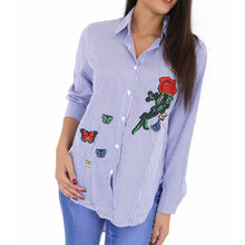 Blue Stripe Embroidered Long Shirt