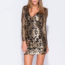Black and Gold Sequin Detail Bodycon Mini Dress