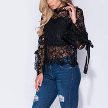 Black Lace Tie Sleeve Top