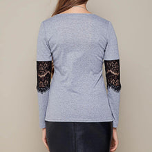 Grey Sweater With Elbow Lace Detail