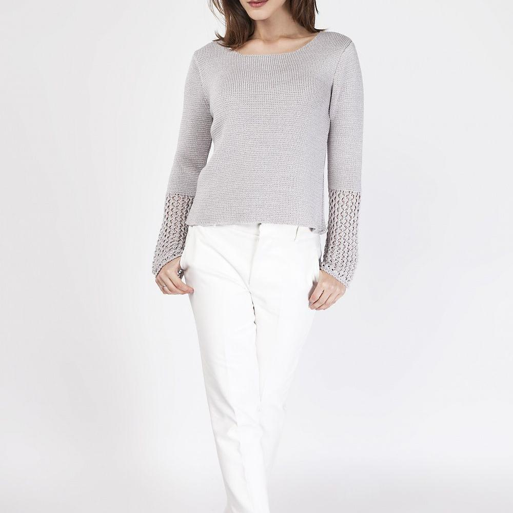 Grey Sweater With Knitted Sleeve Detail