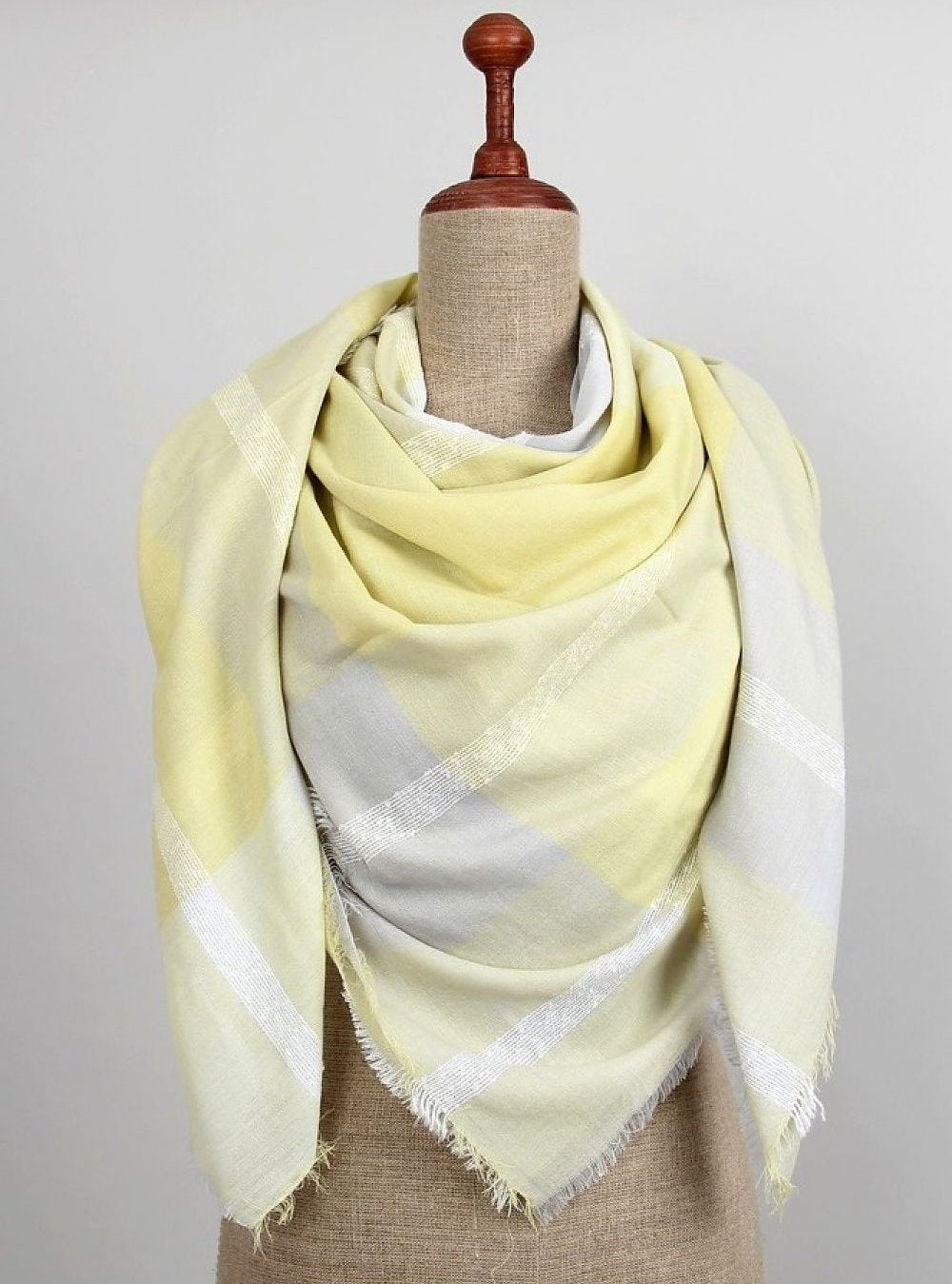 Yellow and Grey Chequered Scarf