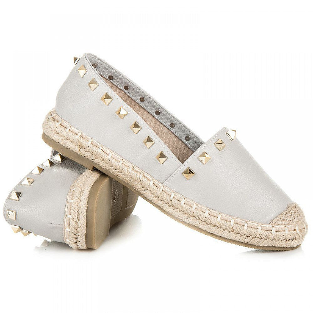 Studded Leather Espadrilles Grey
