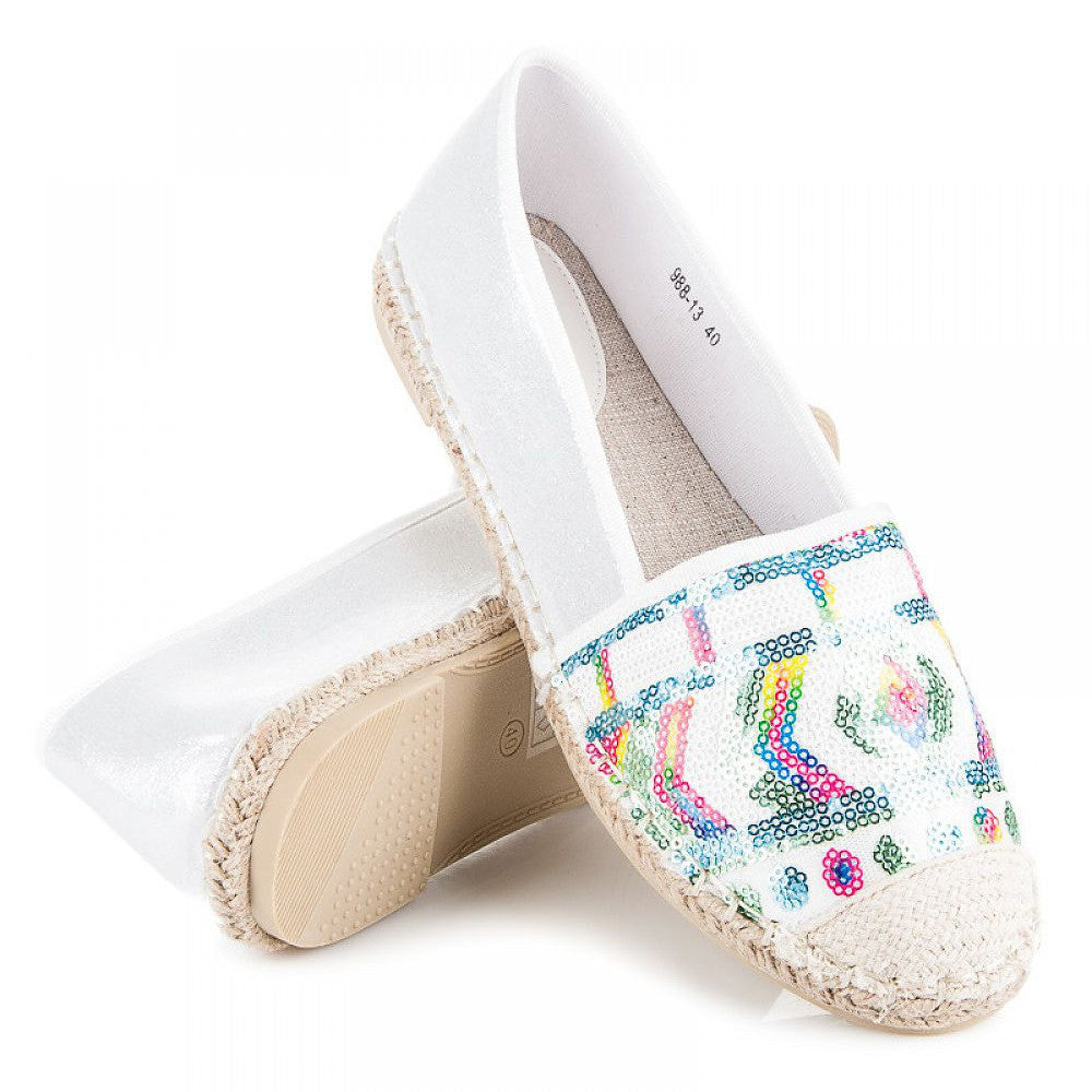 Sequined White Espadrille