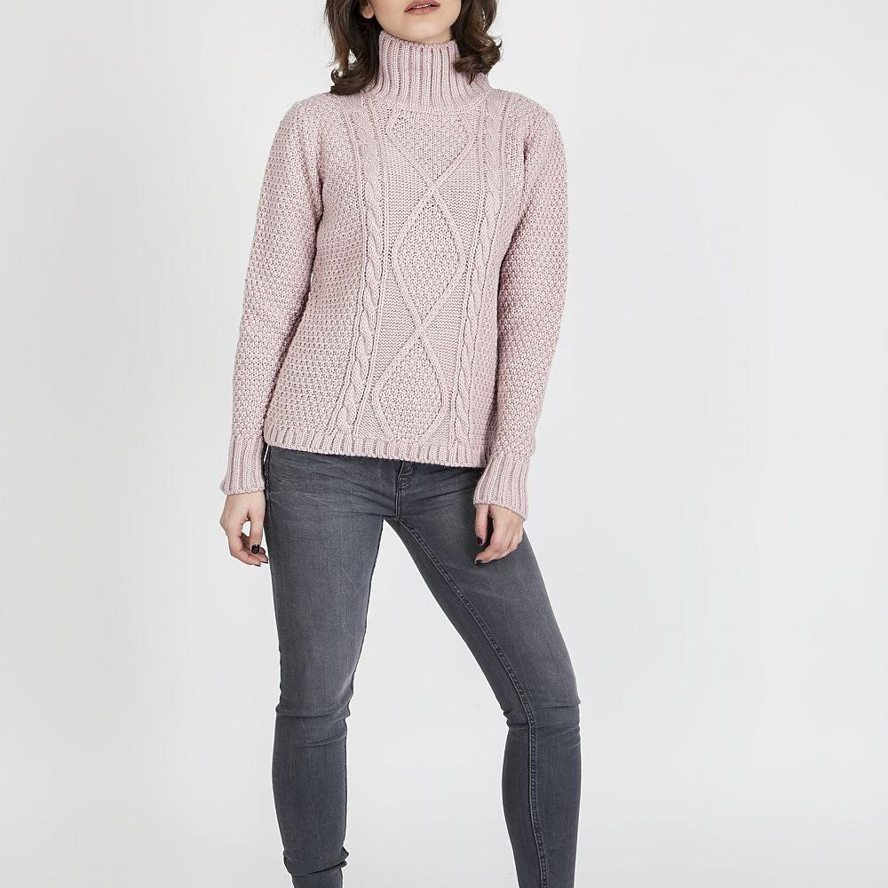 Pink Turtle Neck Knitted Sweater
