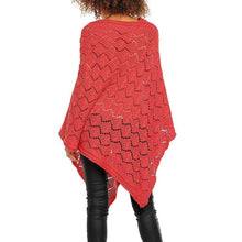 Light Red Knitted Poncho