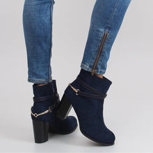 Blue Boots With Buckle Detail