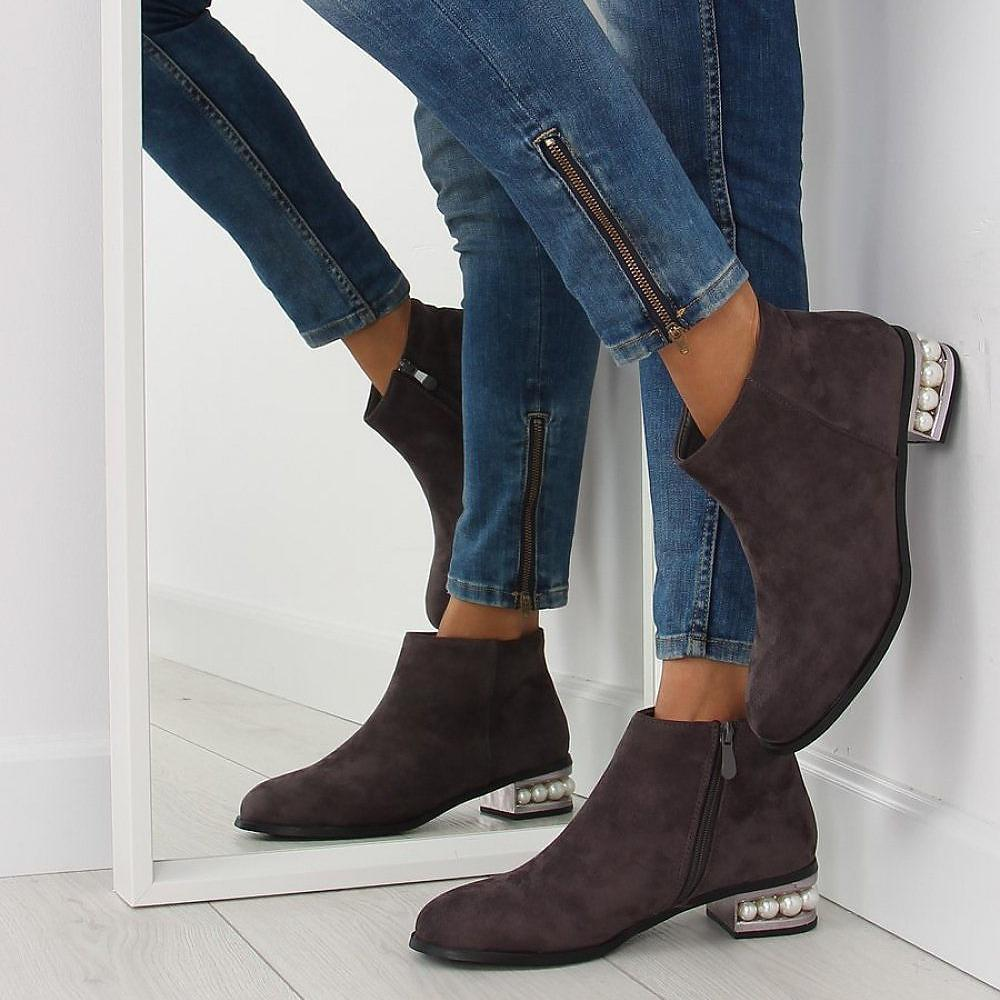 Grey Ankle Boots With Pearl Details