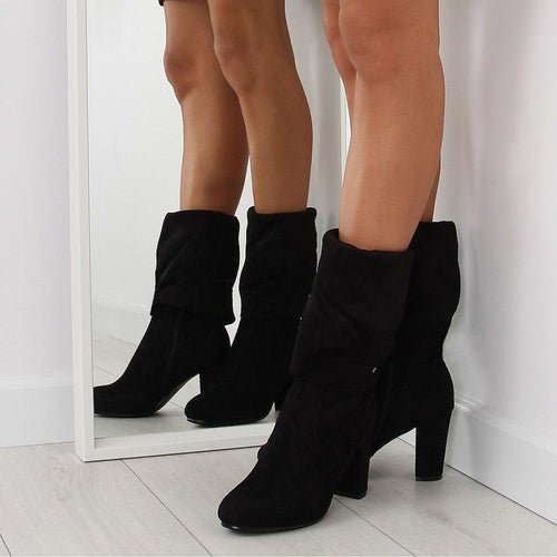 Black Mid Calf and Under Knee Boots