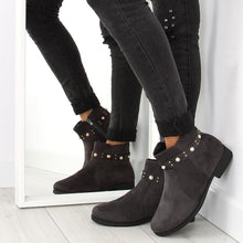 Grey Ankle Boots With Stud Pearl Detail