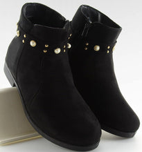 Black Ankle Boots With Stud Pearl Detail