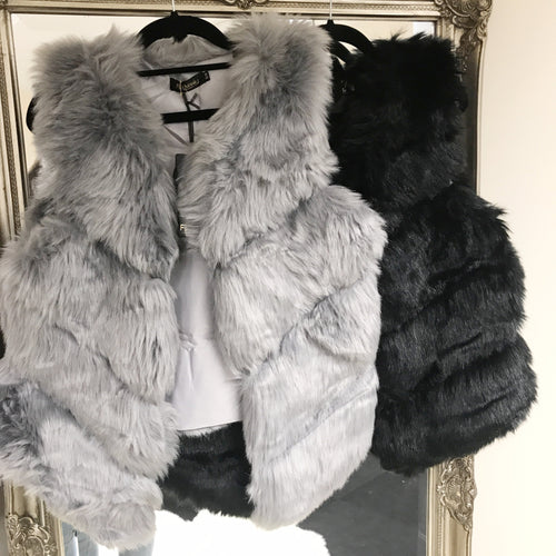 Short Faux Fur Gilet - Black or Grey