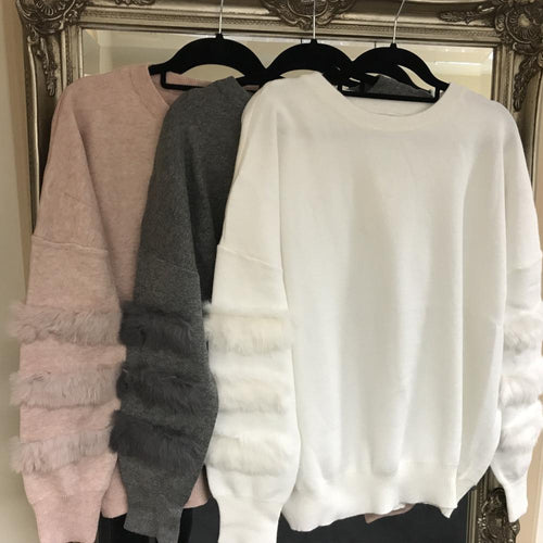 Faux Fur Detail Knitted Jumper - Various Colours